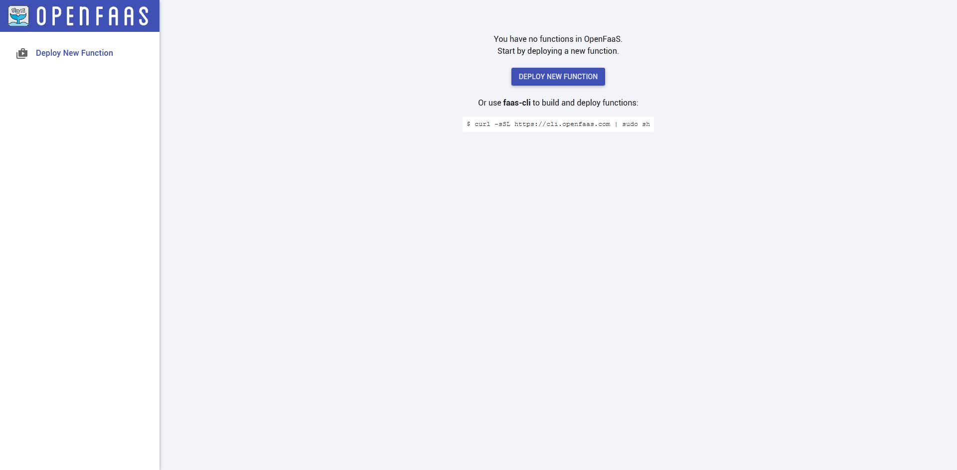 OpenFaaS — пустая панель управления