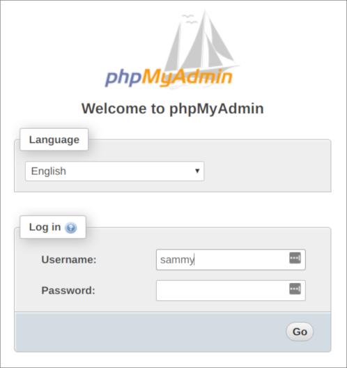 Layar log masuk phpMyAdmin