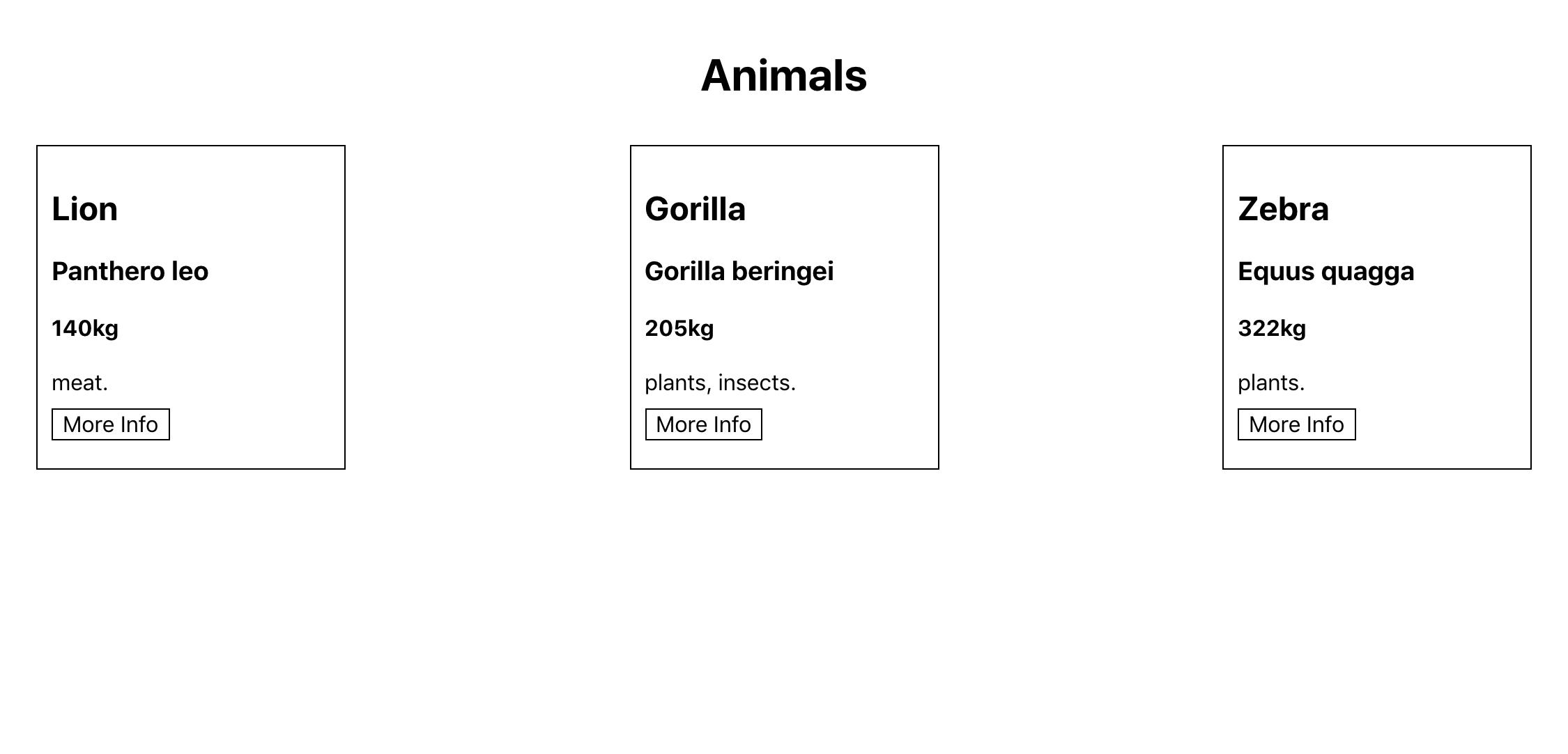 Projet React avec des cartes d'animaux stylisés
