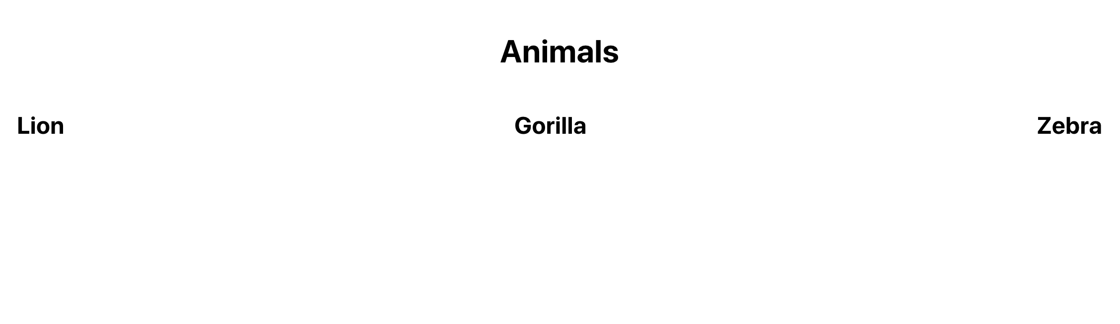 Proyectos React con nombres de animales representados