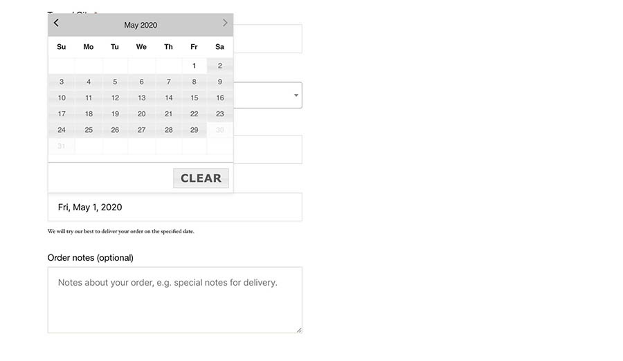 A calendar delivery date selector on the checkout page.