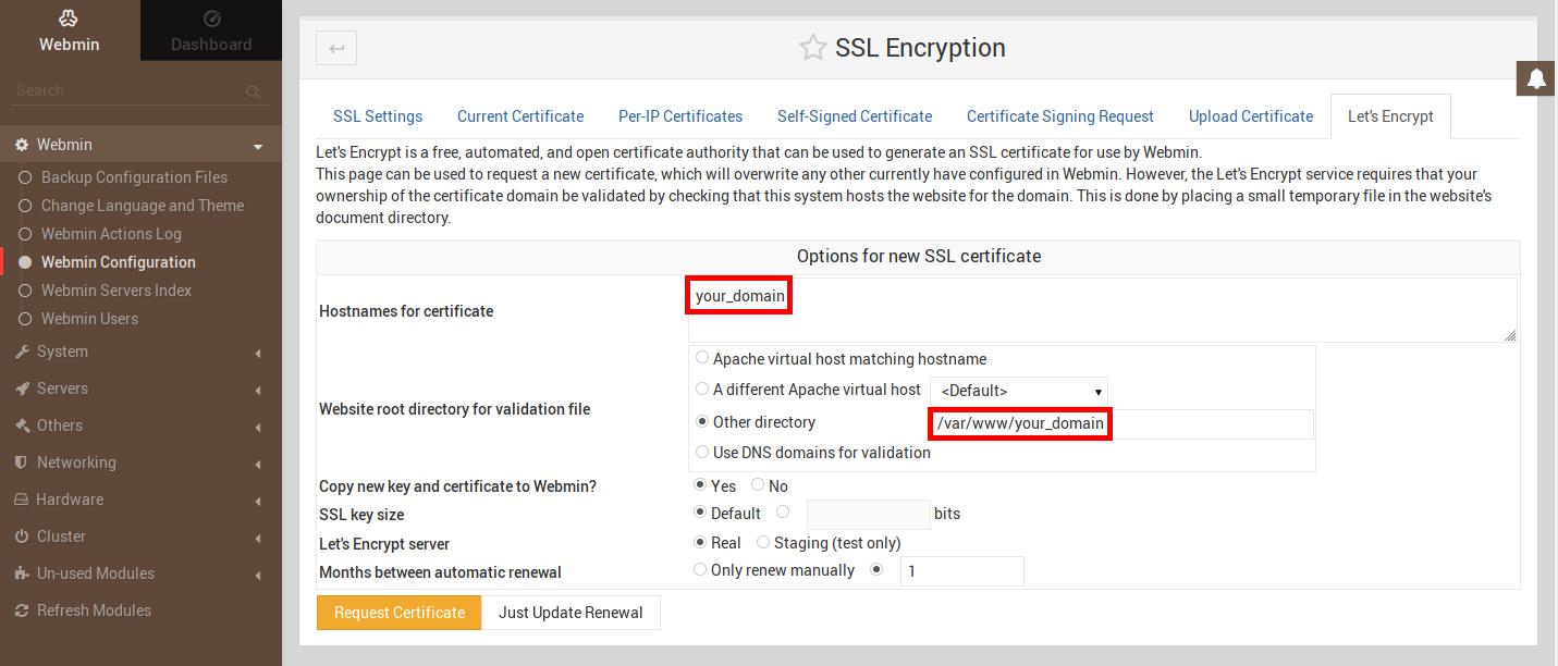 Imagen que muestra la pestaña de Let´s Encrypt en la sección SSL Encryption