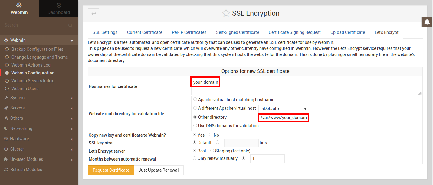 Abbildung der Let's-Encrypt-Registerkarte des SSL-Encryption-Abschnitts