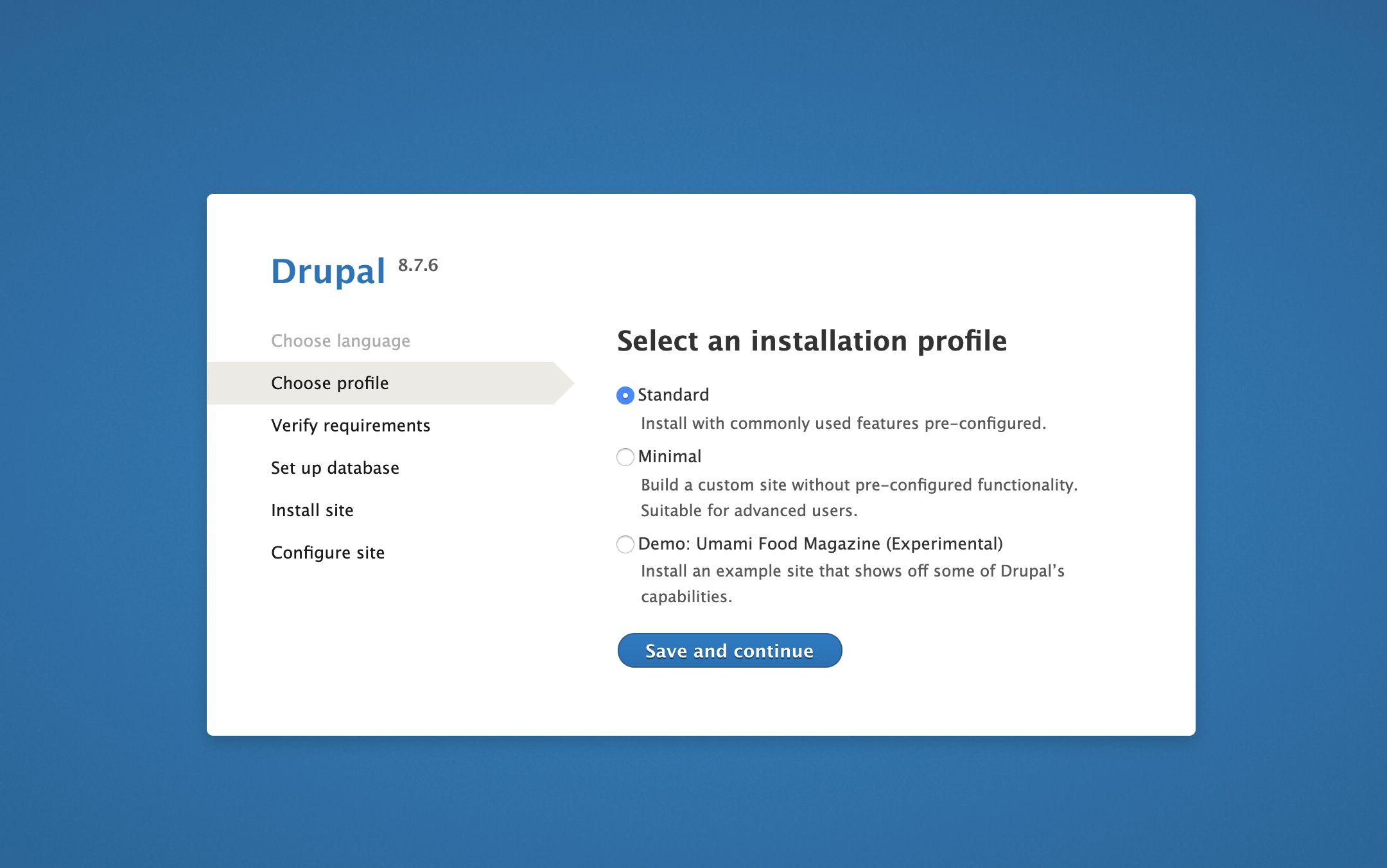 Página Seleccionar perfil en la interfaz web de Drupal