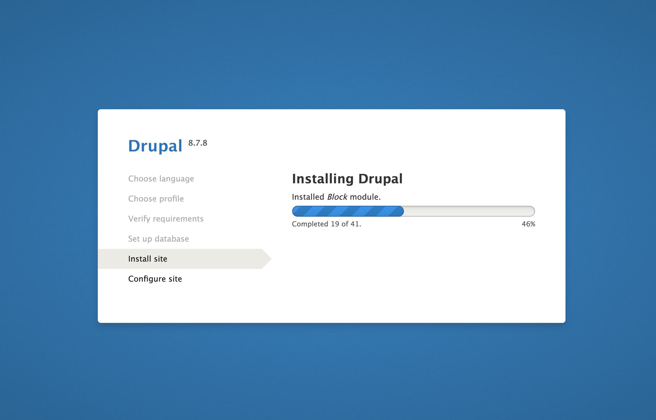 Página Instalar sitio en la interfaz web de Drupal
