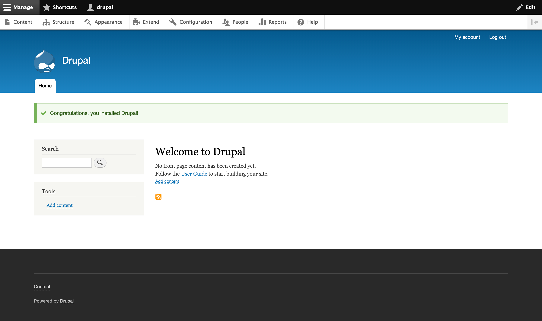 Página Bienvenido a Drupal en la interfaz web de Drupal