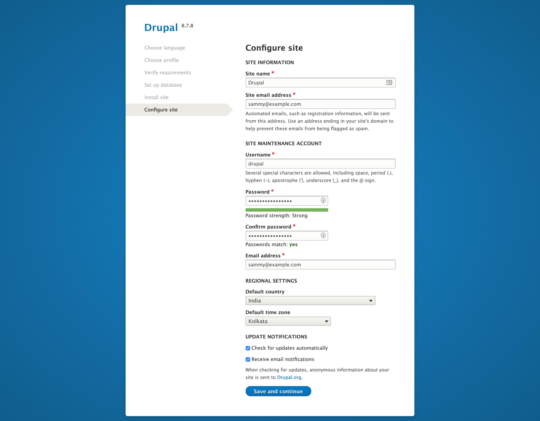 Página Configurar sitio en la interfaz web de Drupal