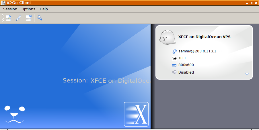 X2Go Main Window - Session List