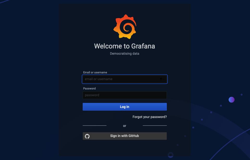 Grafana-Anmeldeseite mit GitHub