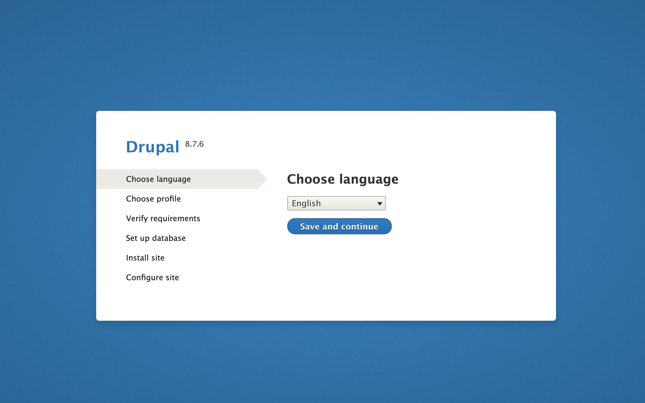 Página Seleccionar idioma en la interfaz web de Drupal