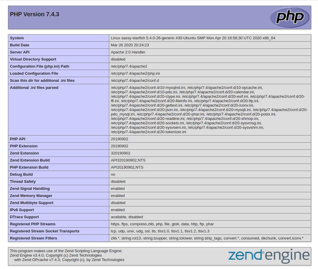 PHP info в Ubuntu 20.04