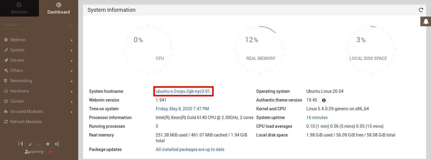 Imagen que muestra dónde está el enlace en el panel de control de Webmin