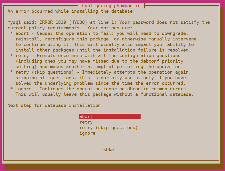 phpMyAdmin password validation error
