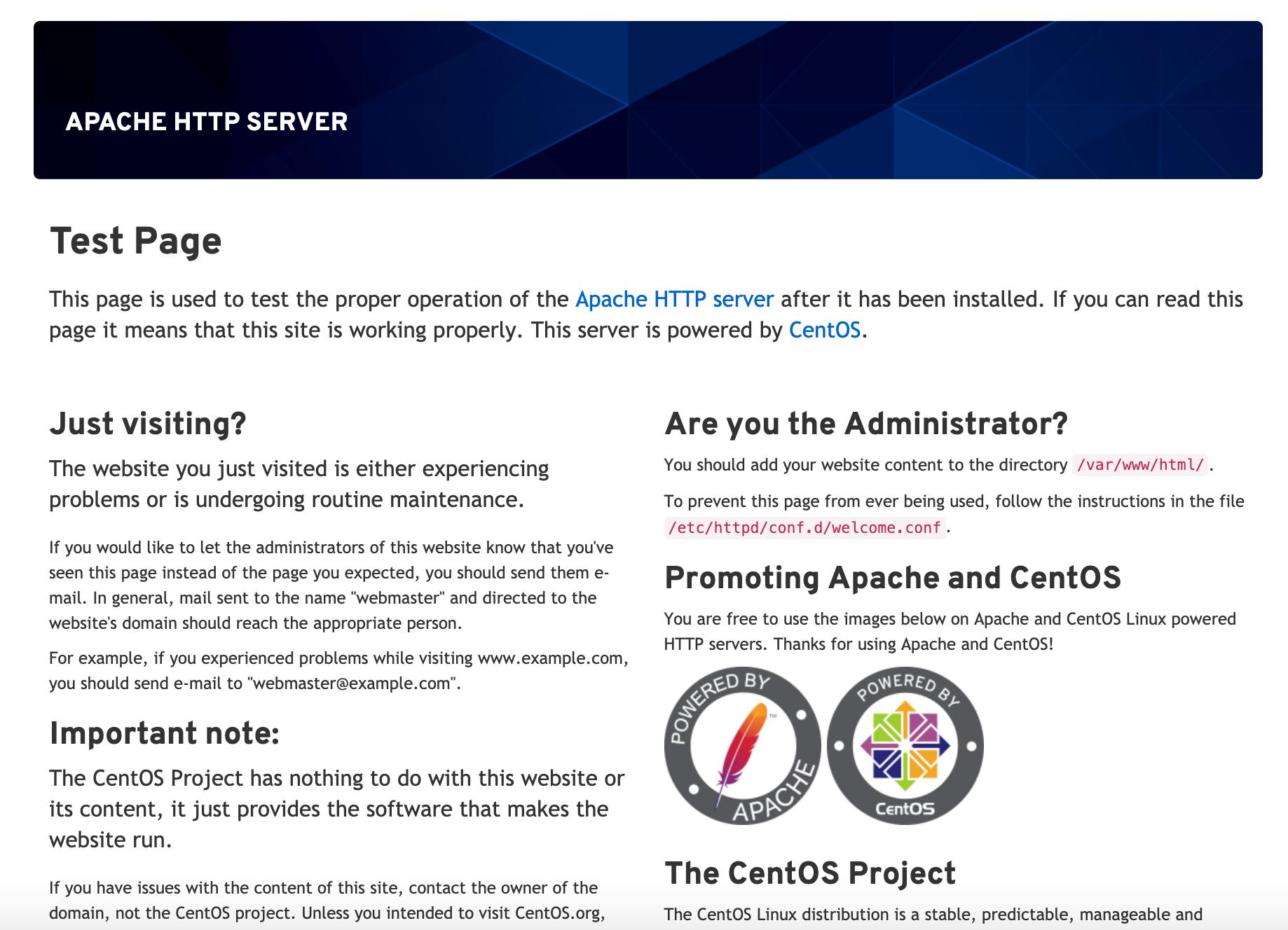 Página predeterminada de Apache para CentOS 8