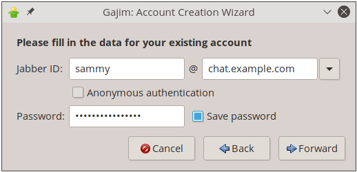 Image showing the Gajim login page