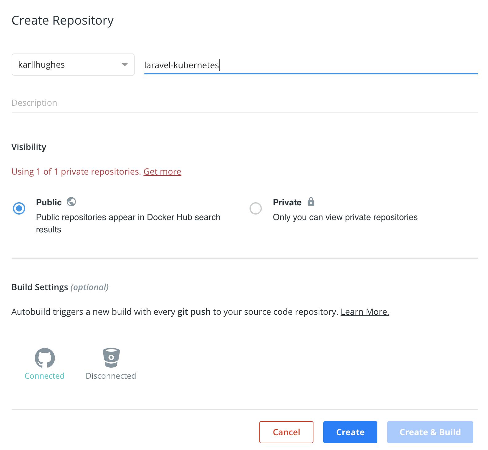 Erstellen eines neuen Repository in Docker Hub