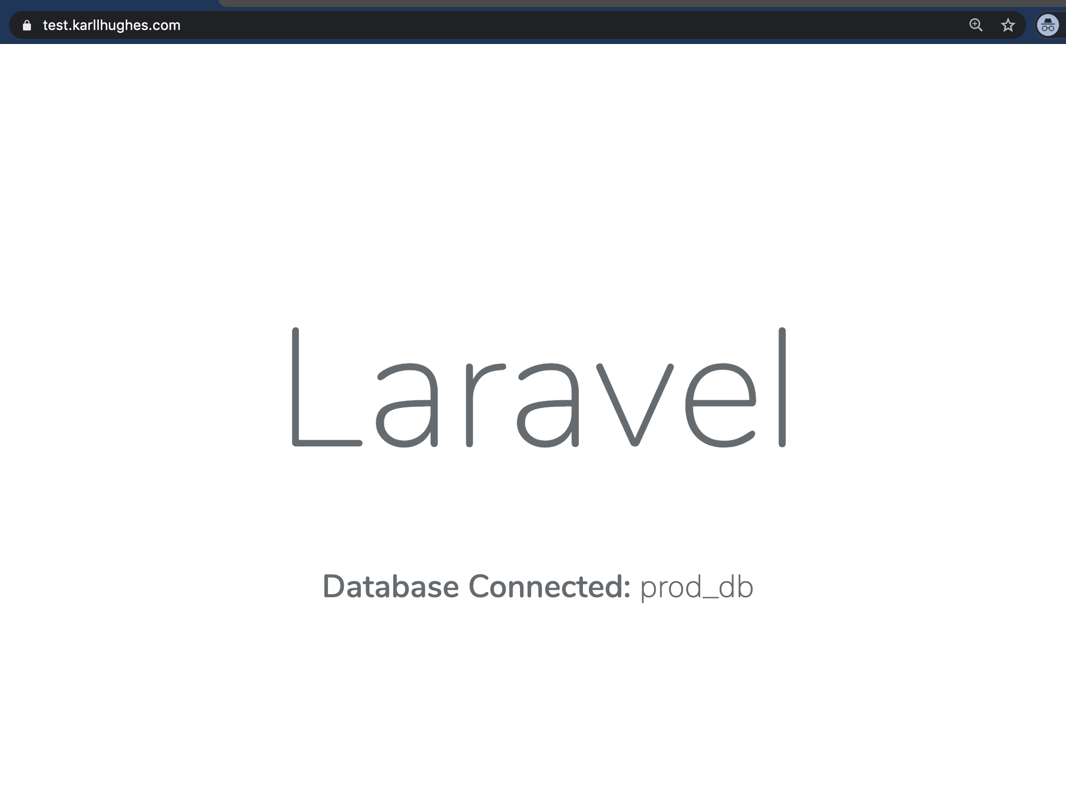 The Laravel application with SSL termination and a custom domain name
