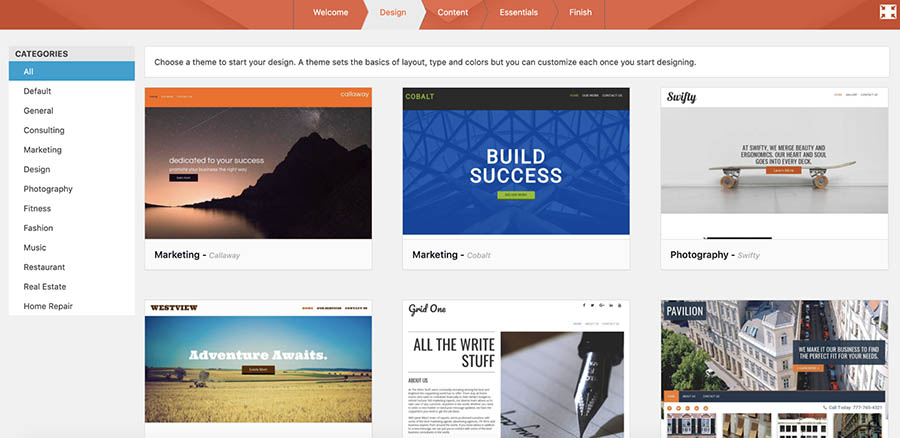 WP Website Builder themes menu.