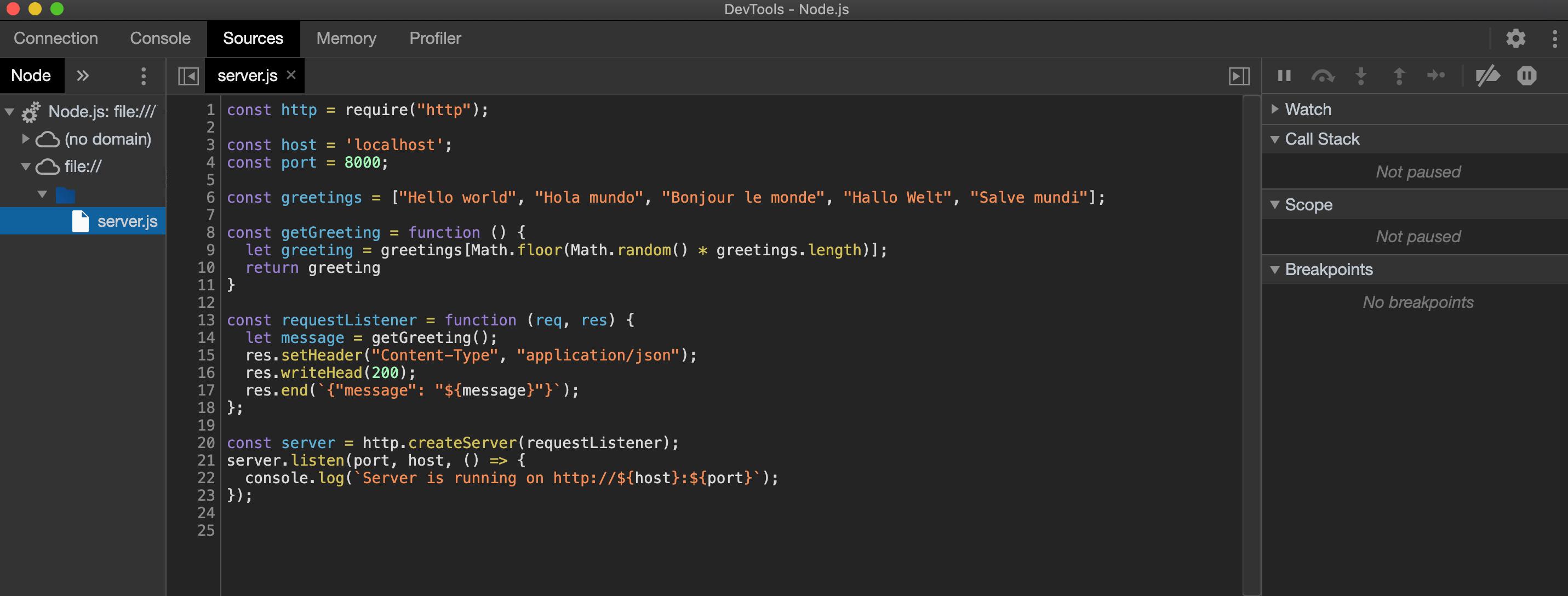 Screenshot of debugger window's Sources tab