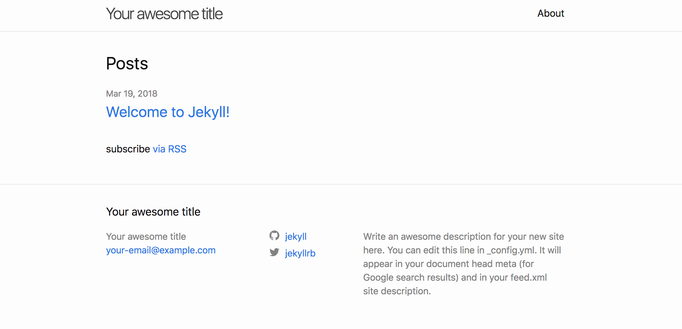 Screenshot of the Jekyll homepage