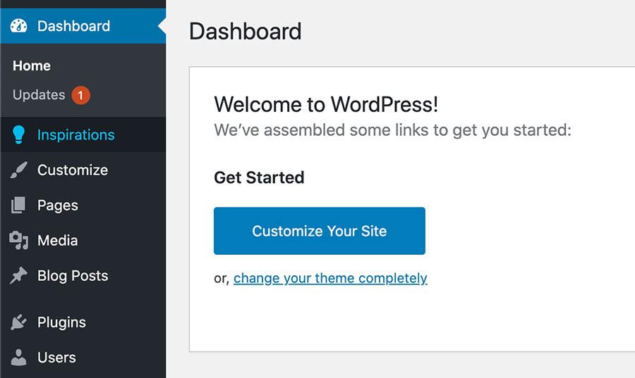 'Inspirations' menu in the WordPress dashboard.