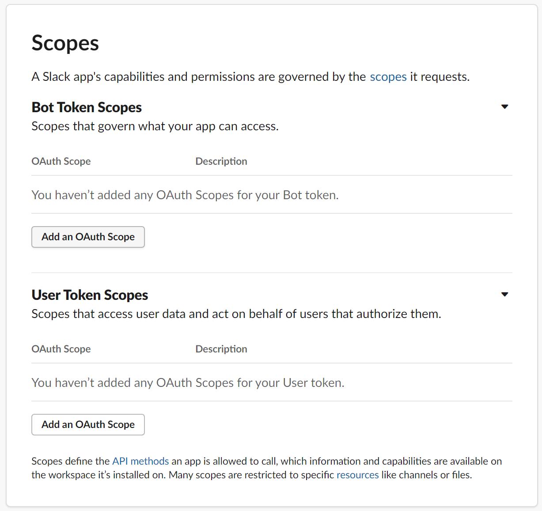 Sélectionnez le bouton Add an OAuth Scope (Ajouter un champ d'application OAuth)