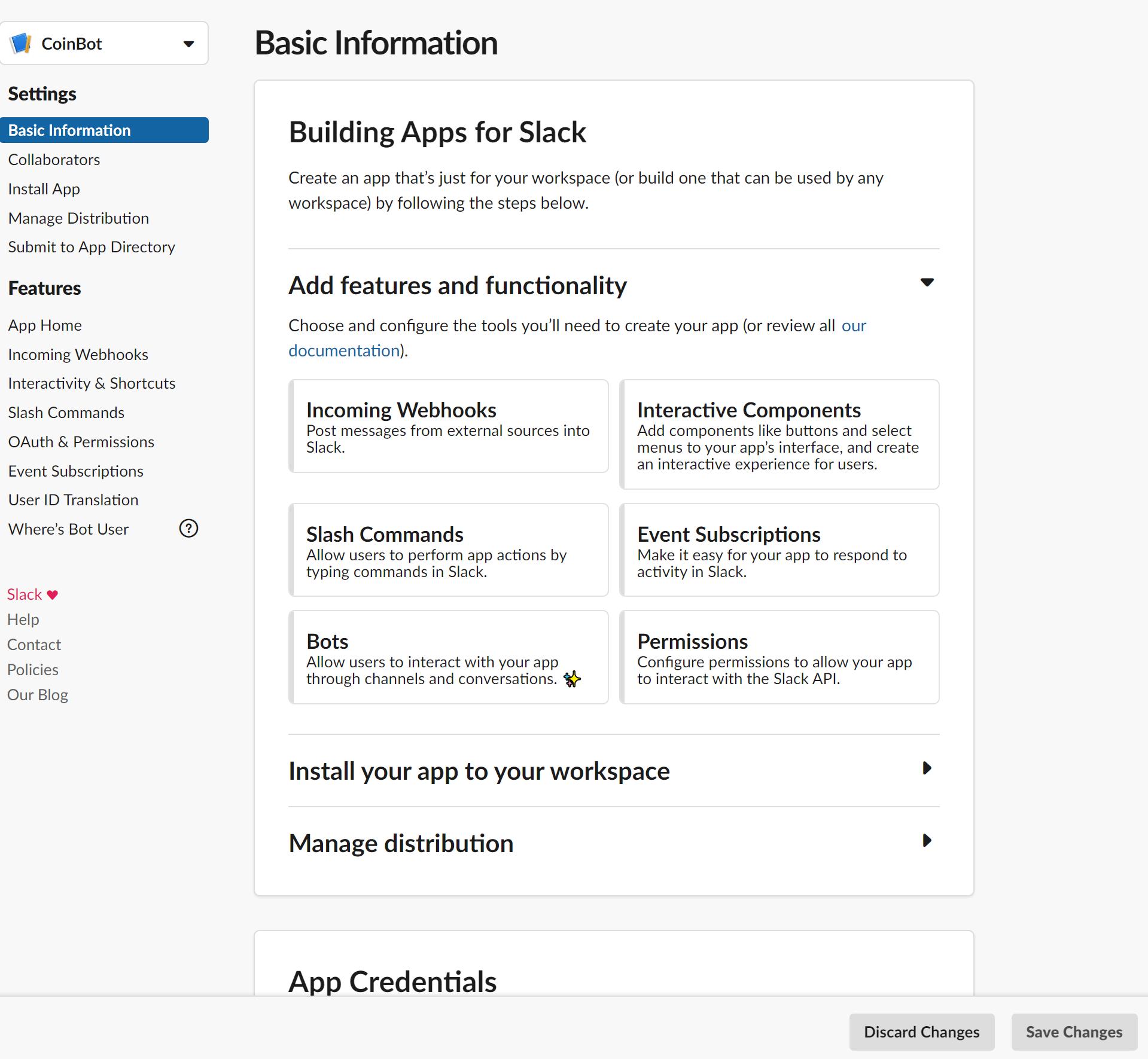 Default Slack App Panel