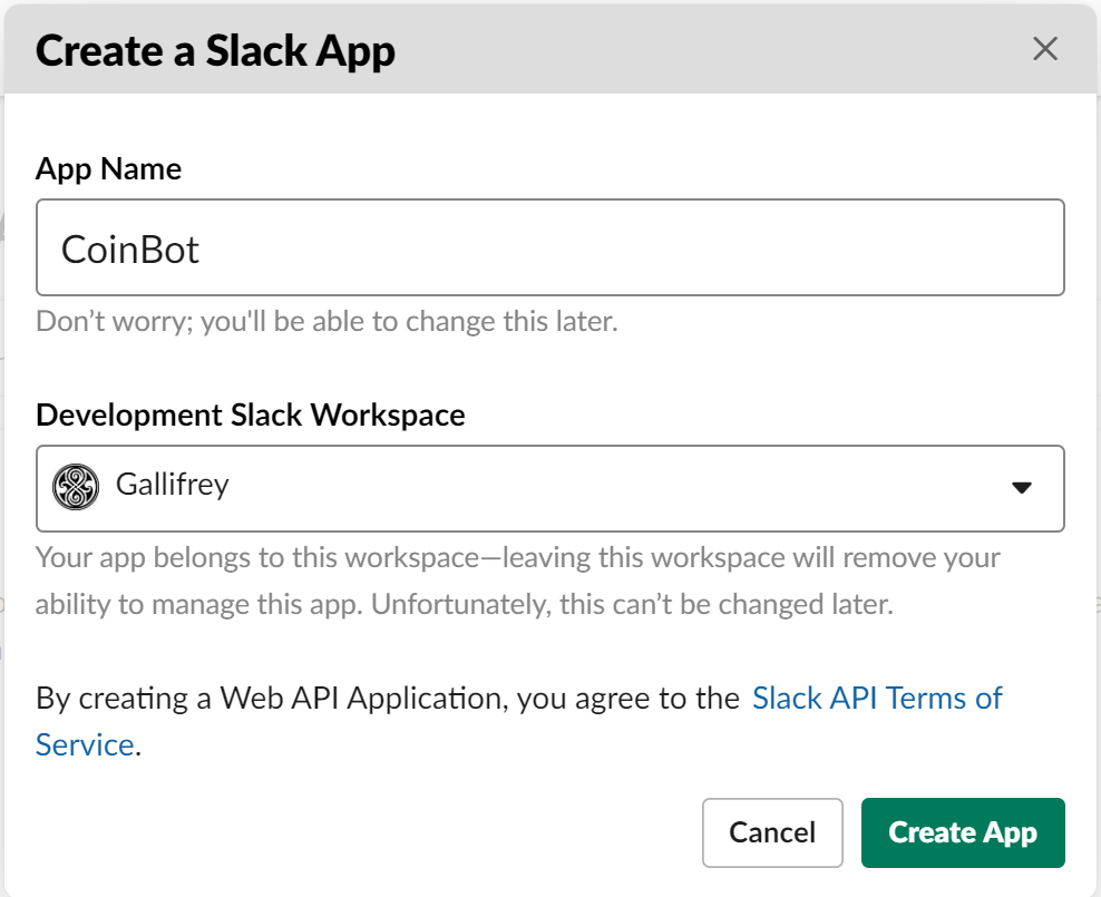 Name Your Slack App and Select a Workspace