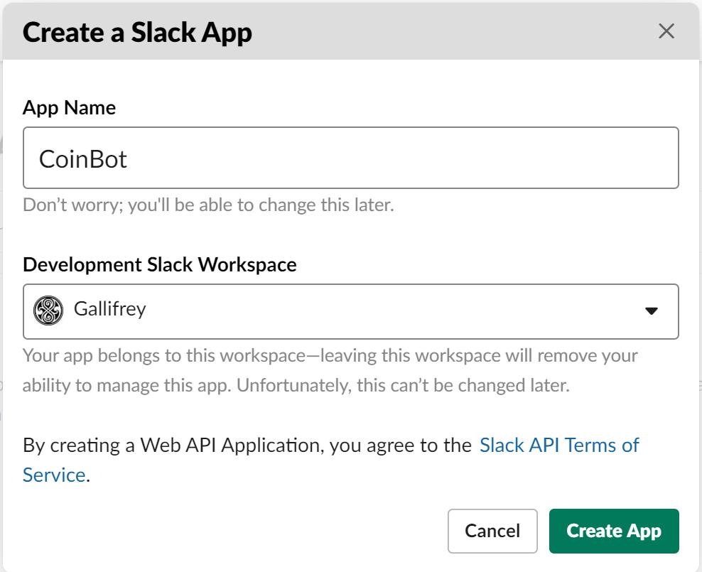 Nommez votre application Slack et sélectionnez un espace de travail