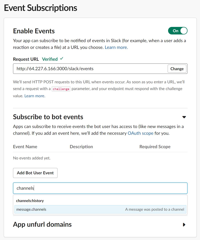 S'abonner aux permissions pour les événements du bot