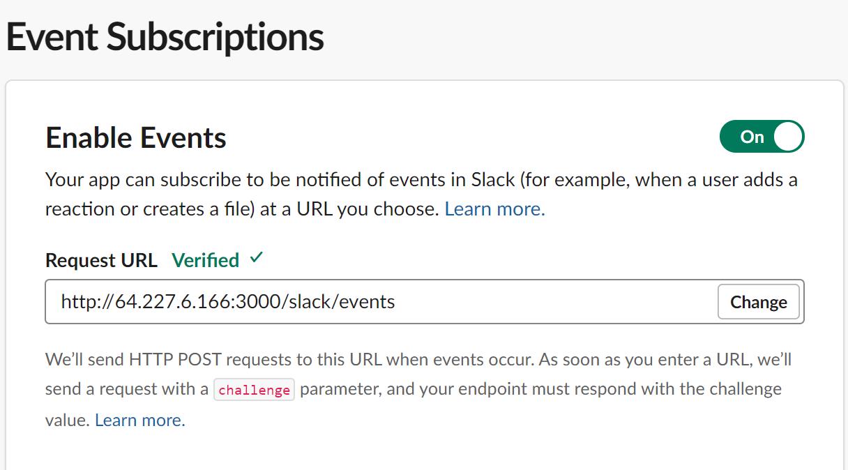 Demande d'abonnements aux événements URL