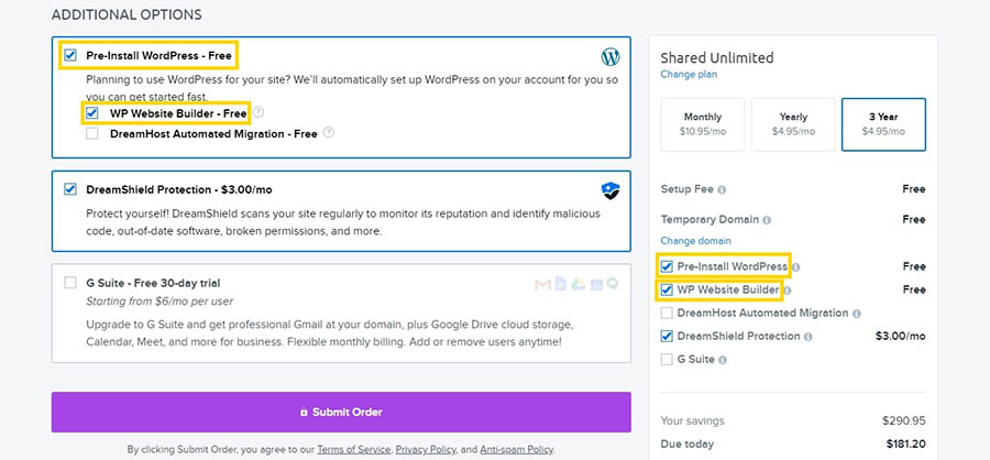 The checkout page for the DreamHost Shared Unlimited plan.