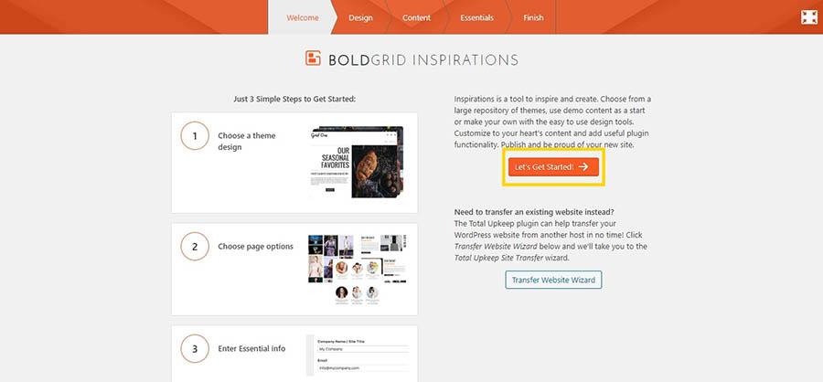 The WP Website Builder BoldGrid Inspirations wizard.