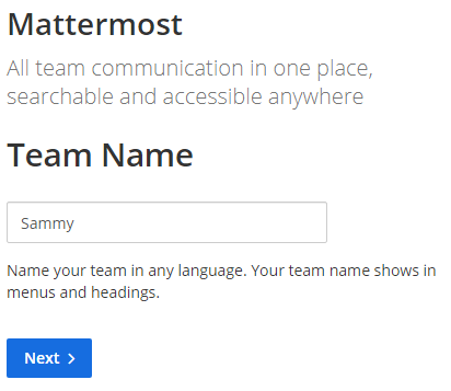 Mattermost - Creating a Team