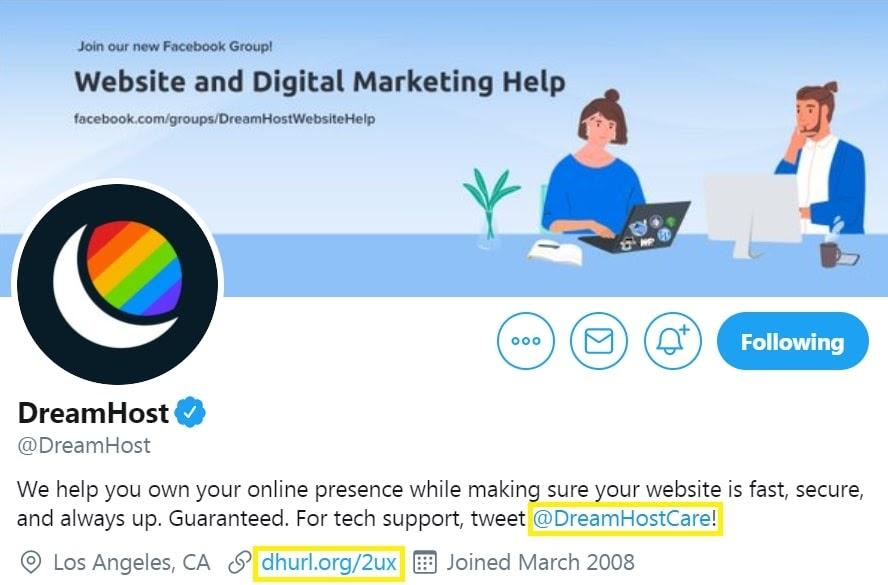 Website link on a social media profile.