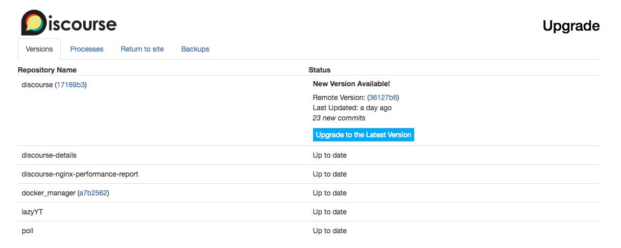 Discourse-Upgrade Admin-Upgrade-Seite