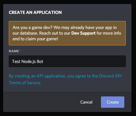Imagen del mensaje para crear una aplicación, con
