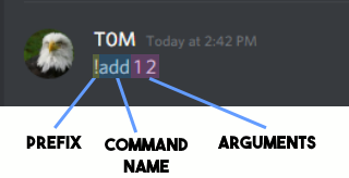 An image of a typical Discord command reading