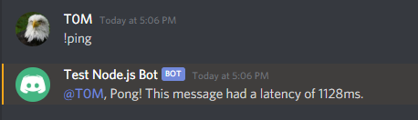 Image of bot replying in Discord to