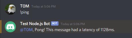 Imagen de bot replicando en Discord a