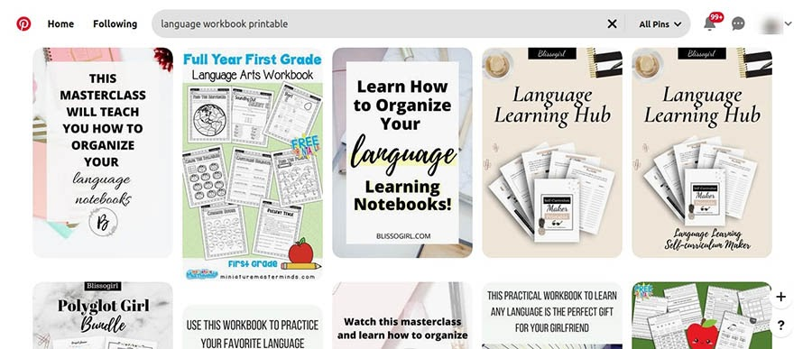Printable language workbooks on Pinterest.