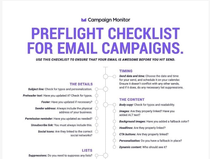 An email campaign checklist.