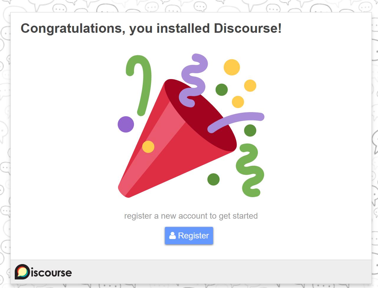Discourse-Glückwunsch-Bildschirm