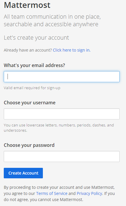 Mattermost - Sign up prompt
