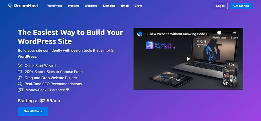 The landing page for WP Website Builder.
