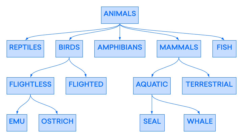Ejemplo de base de datos jerárquica: categorización de animales