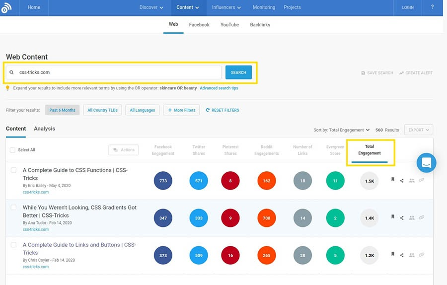 The BuzzSumo content research tool.