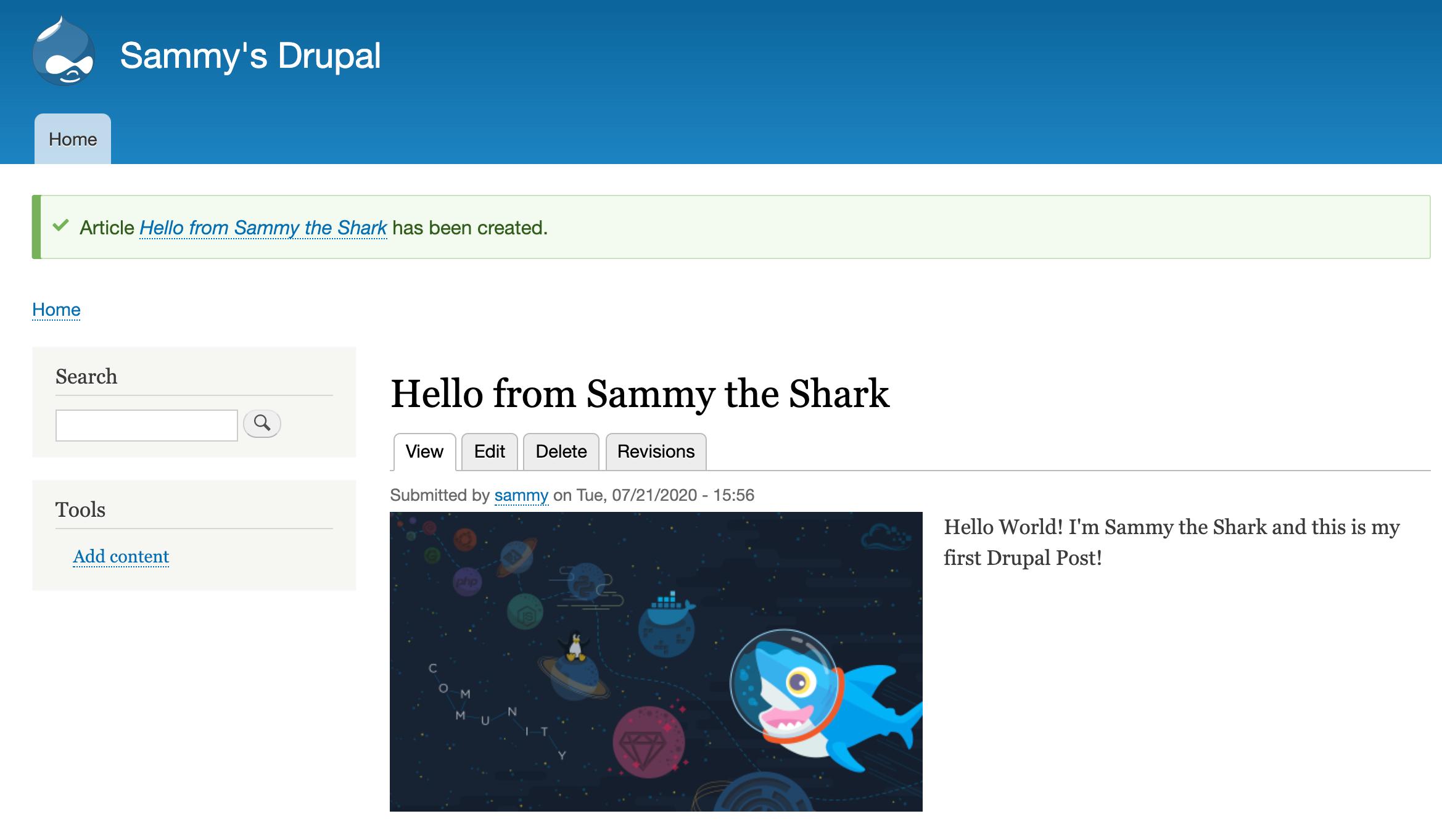 Drupal 9 creó una publicación