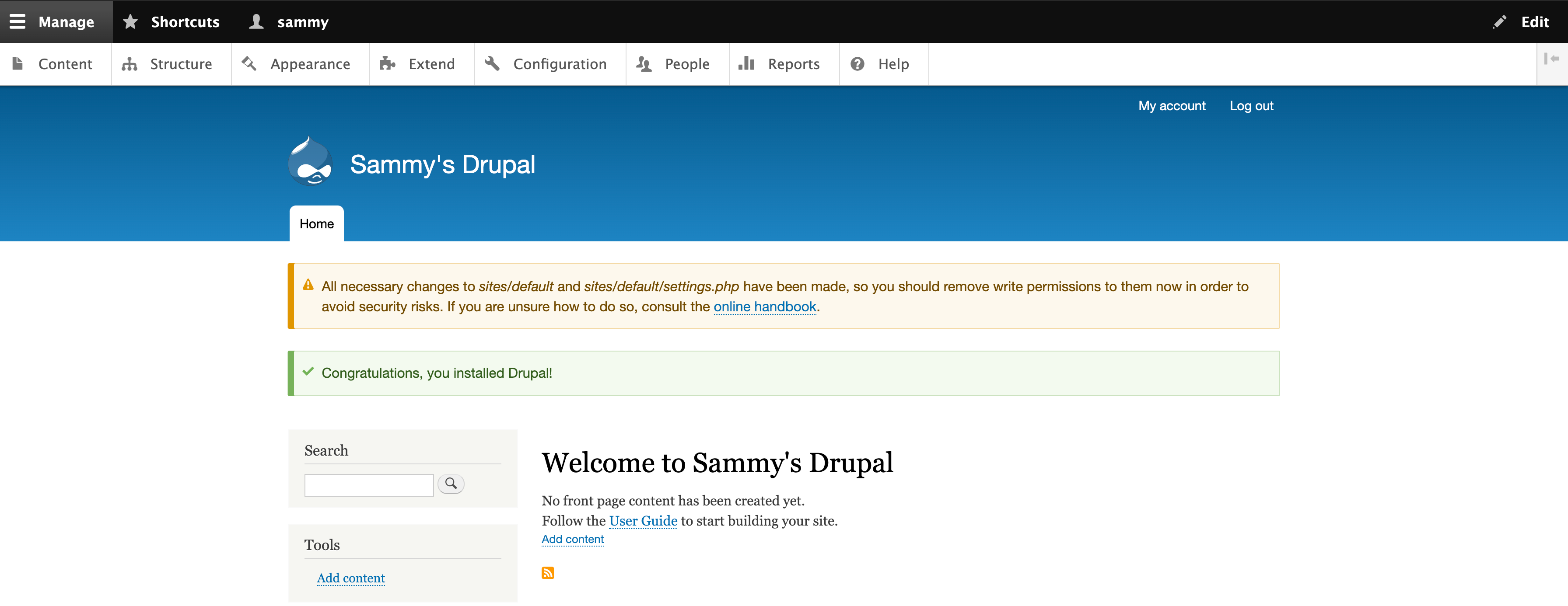 Drupal 9 welcome message with a warning about permissions