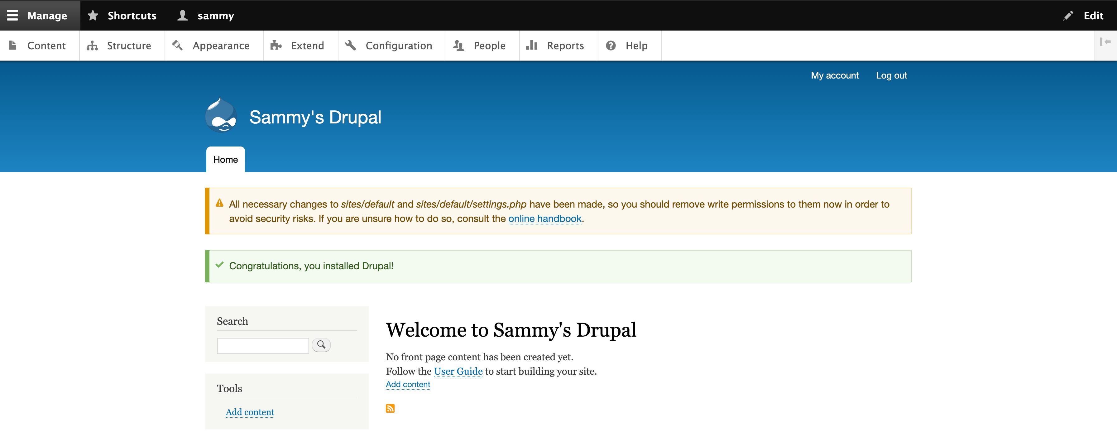 Mensaje de bienvenida de Drupal 9 con una advertencia sobre permisos